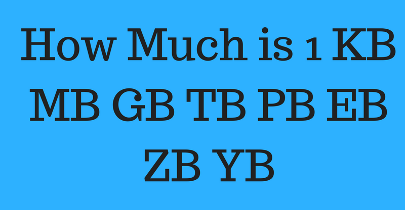 HowMuch is 1 KB MB GB TB PB EB ZB YB